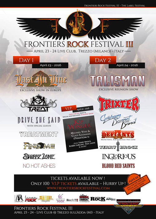 Frontiers Rock Festival 2016 - Feb. 11 2015 Announce