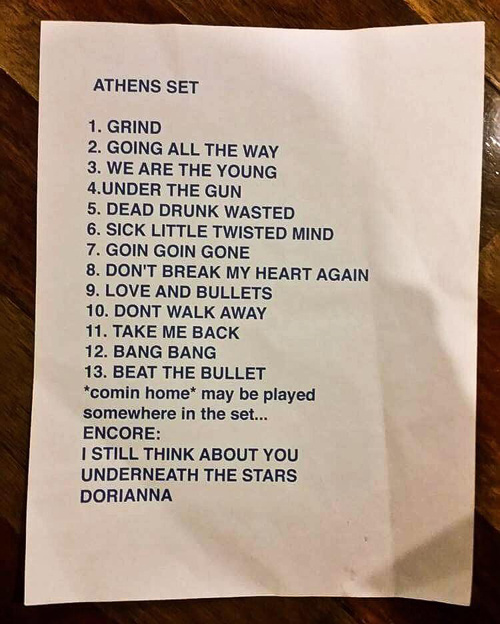 Paul Laine's Setlist : March 15, 2017 in Athens, Greece