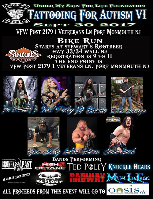 Ted Poley : Tattooing For Autism �Y, September 30, 2017
