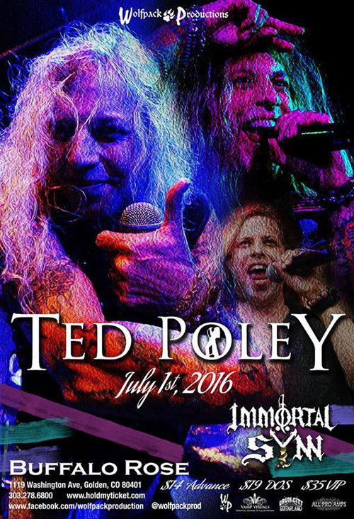 Ted Poley at Buffalo Rose in Golden, CO : Jul. 1, 2016 - Poster